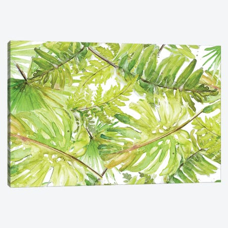 New Green Scattered Palms Canvas Print #PPI504} by Patricia Pinto Canvas Art
