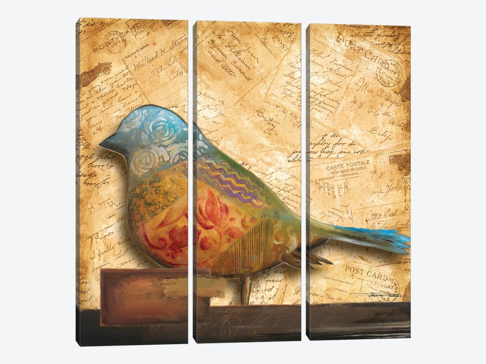 Bird of Collage I by Patricia Pinto 3-piece Canvas Print