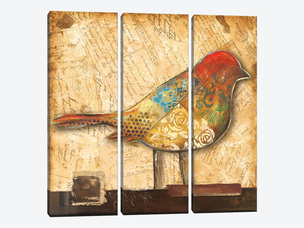 Bird of Collage II by Patricia Pinto 3-piece Canvas Art