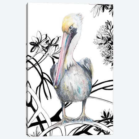Pelican On Branch I Canvas Print #PPI524} by Patricia Pinto Canvas Artwork