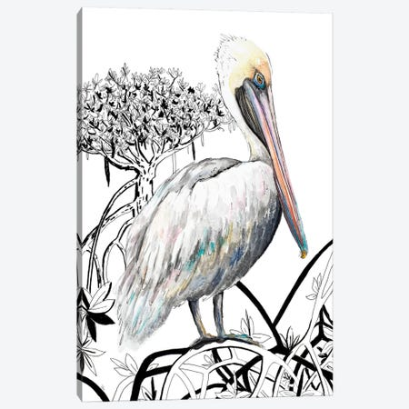 Pelican On Branch II Canvas Print #PPI525} by Patricia Pinto Canvas Artwork