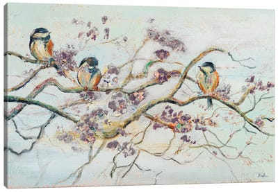 Birds on Cherry Blossom Branch Canvas Art Print