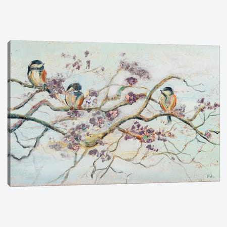Birds on Cherry Blossom Branch Canvas Print #PPI53} by Patricia Pinto Canvas Wall Art