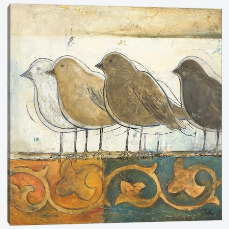 Birds on Damask I Canvas Print #PPI54} by Patricia Pinto Art Print