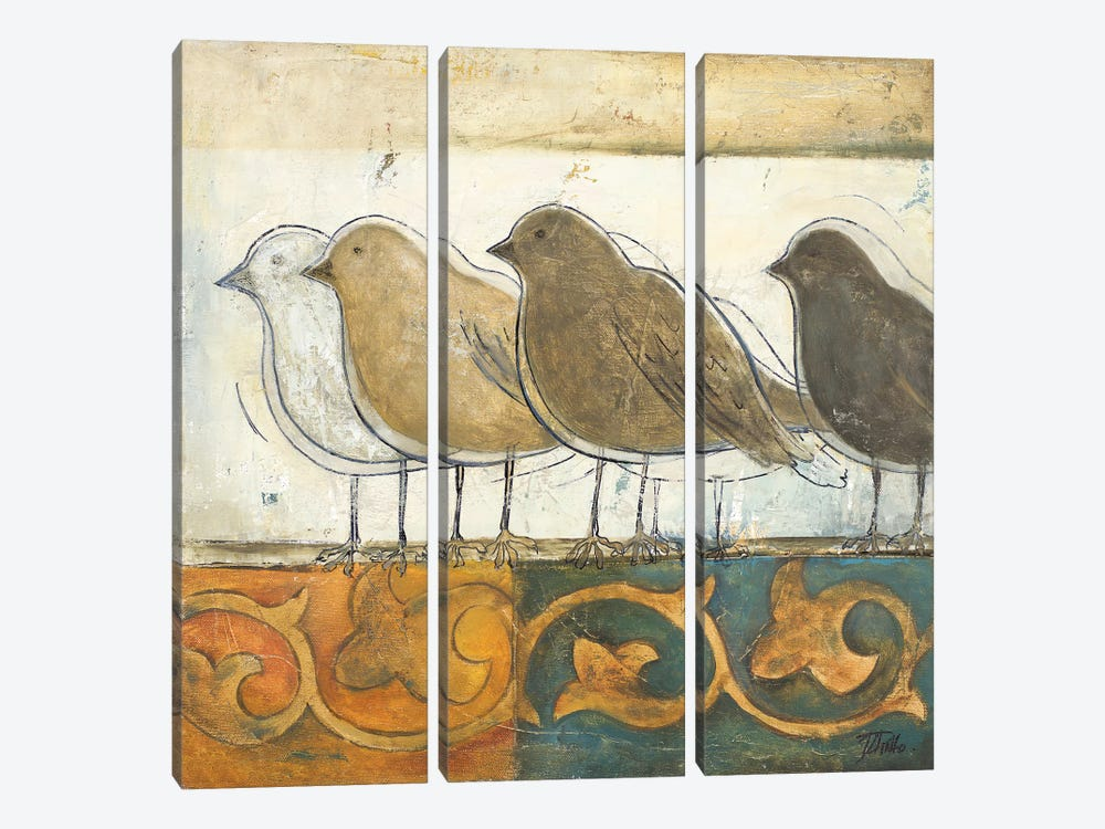 Birds on Damask I by Patricia Pinto 3-piece Canvas Print