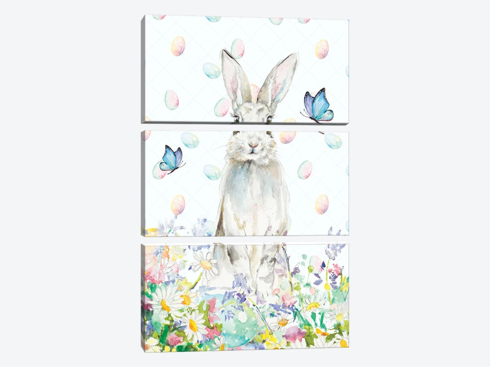 Tall Easter Bunny by Patricia Pinto 3-piece Canvas Art Print