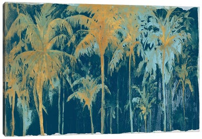 Teal And Gold Palms Canvas Art Print