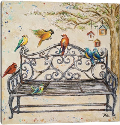 Birds on the Bench Canvas Art Print