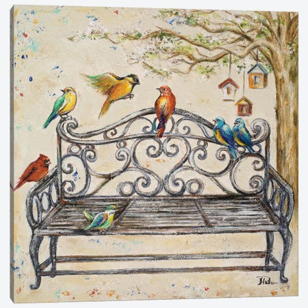 Birds on the Bench 3-Piece Canvas #PPI56} by Patricia Pinto Canvas Print