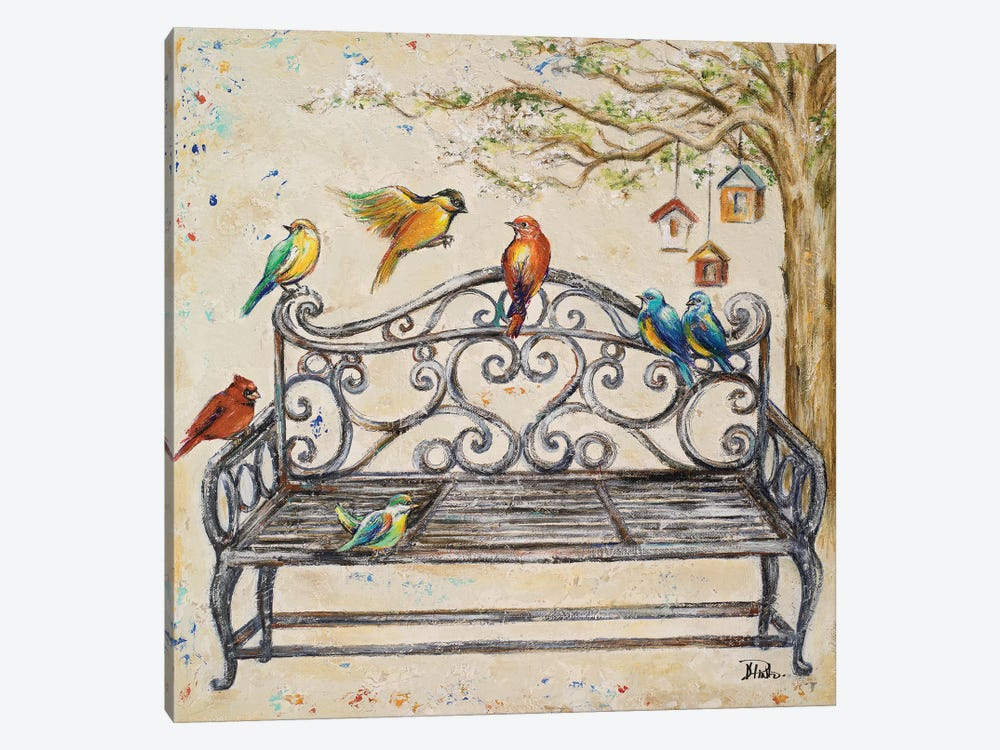 Birds on the Bench by Patricia Pinto 1-piece Canvas Art Print