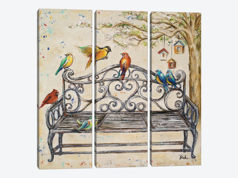 Birds on the Bench by Patricia Pinto 3-piece Canvas Art Print