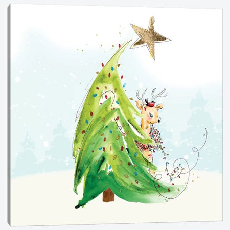Whimsical Tree And Reindeer Canvas Print #PPI585} by Patricia Pinto Canvas Art