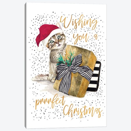 Wishing You A Prrrfect Christmas Canvas Print #PPI588} by Patricia Pinto Art Print