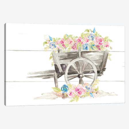 Wood Cart Floral Canvas Print #PPI589} by Patricia Pinto Art Print