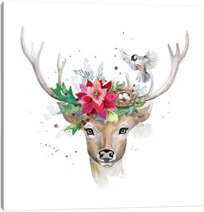 Woodland Deer With Bird Canvas Art Print