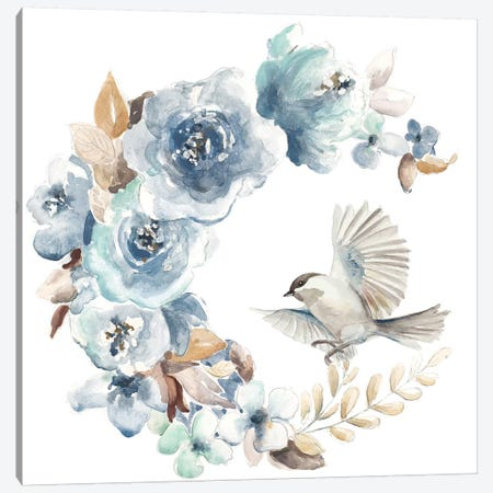 Floral with Bird I Canvas Print #PPI606} by Patricia Pinto Art Print
