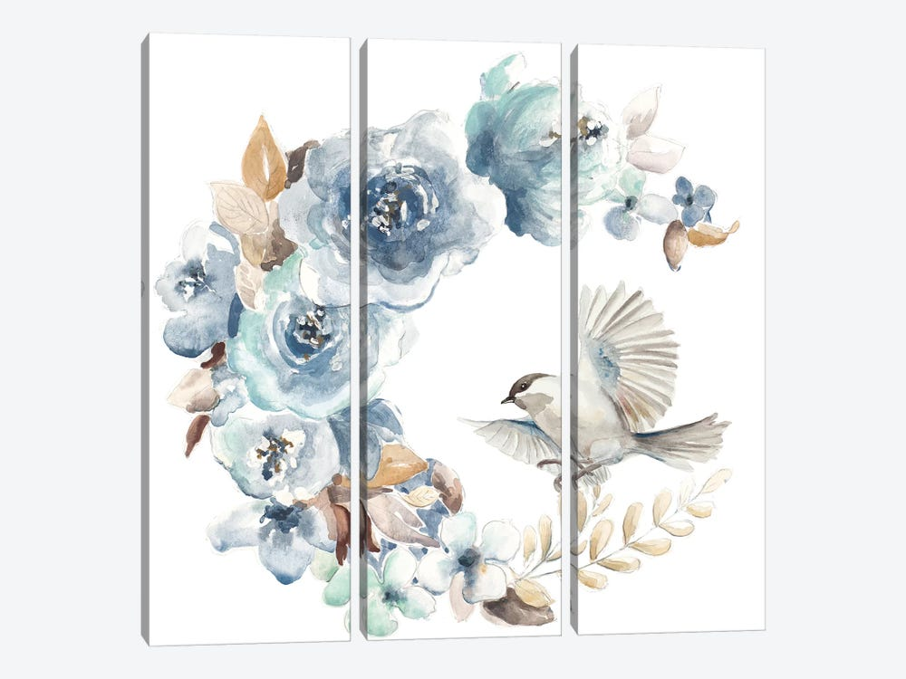 Floral with Bird I by Patricia Pinto 3-piece Canvas Art Print