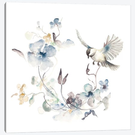 Floral with Bird II Canvas Print #PPI607} by Patricia Pinto Art Print