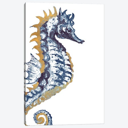 Surf Side Golden Blue Seahorse Canvas Print #PPI618} by Patricia Pinto Canvas Art Print