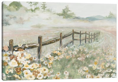 Fence with Flowers Canvas Art Print