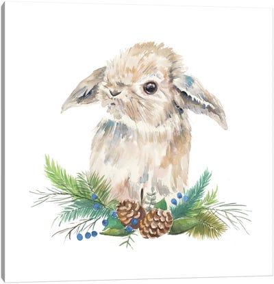 Floppy Eared Bunny on Greenery Canvas Art Print