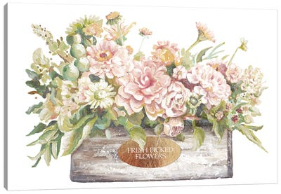Flowers in Wooden Planter Canvas Art Print
