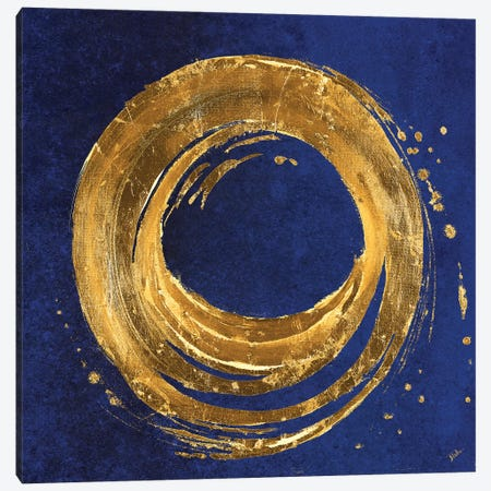 Gold Circle on Blue Canvas Print #PPI649} by Patricia Pinto Canvas Artwork