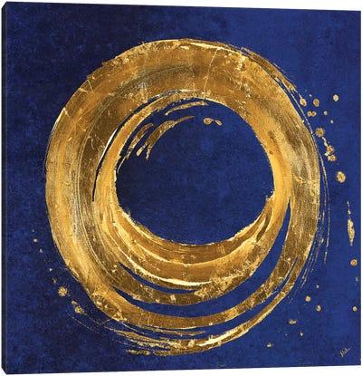 Gold Circle on Blue Canvas Art Print