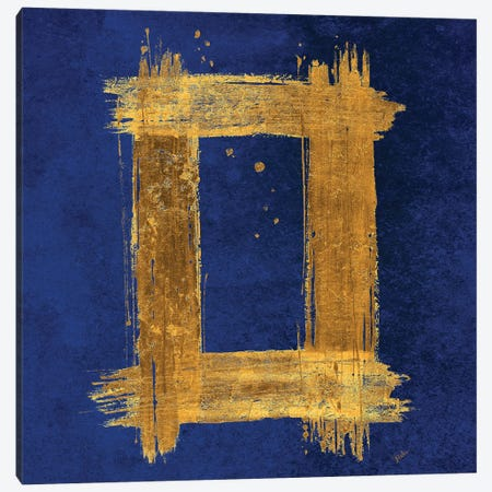 Gold Rectangle on Blue Canvas Print #PPI652} by Patricia Pinto Canvas Print