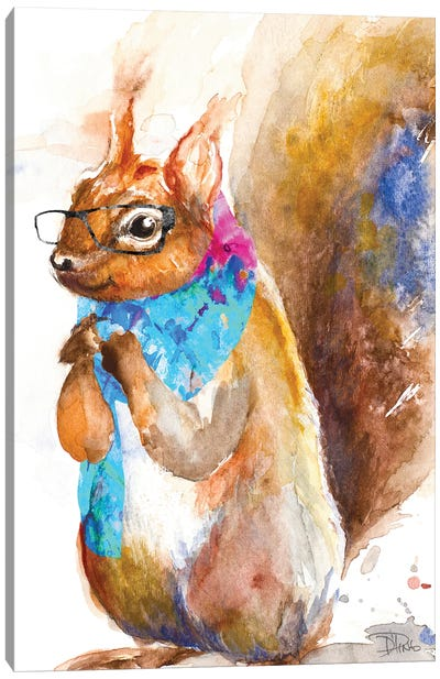 Hipster Squirrel Canvas Art Print