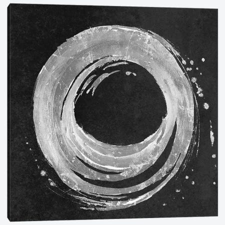 Silver Circle on Black Canvas Print #PPI669} by Patricia Pinto Canvas Artwork