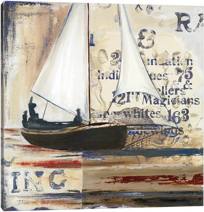 Blue Sailing Race I Canvas Art Print