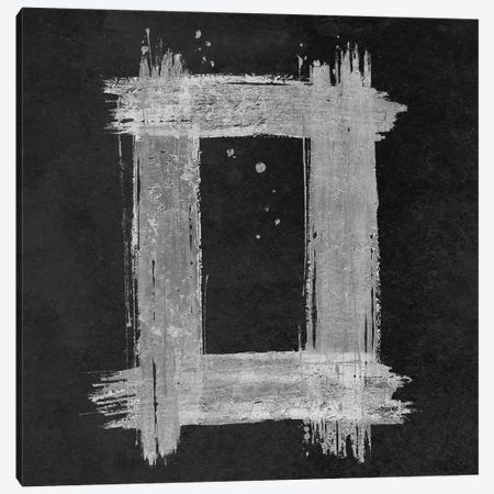 Silver Rectangle on Black Canvas Print #PPI670} by Patricia Pinto Art Print