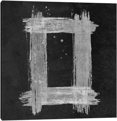 Silver Rectangle on Black Canvas Art Print