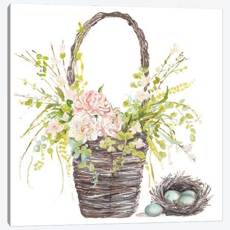 Spring Flower Basket Canvas Print #PPI672} by Patricia Pinto Canvas Art Print