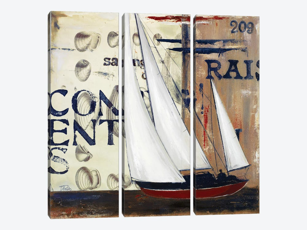 Blue Sailing Race II by Patricia Pinto 3-piece Canvas Print