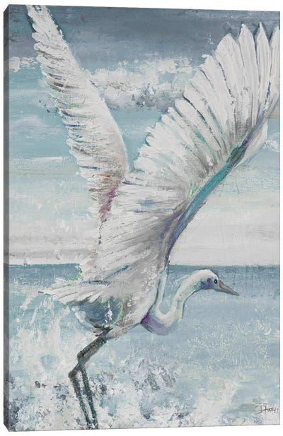 Great Egret Flying Canvas Art Print