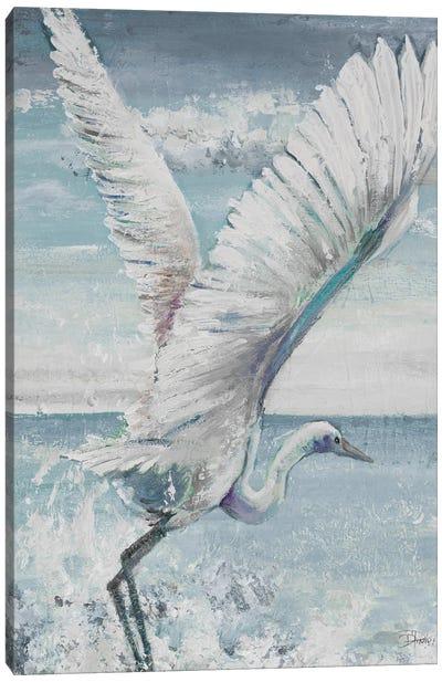 Great Egret Flying Canvas Art Print
