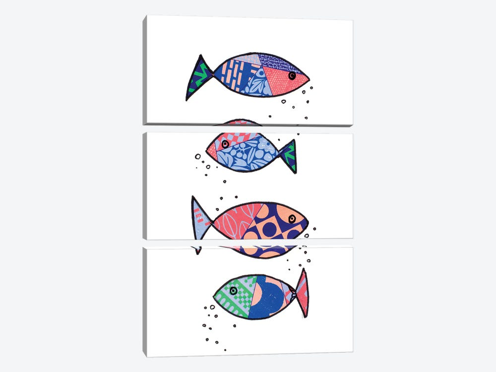 Tropical Fish Collage I by Patricia Pinto 3-piece Canvas Art