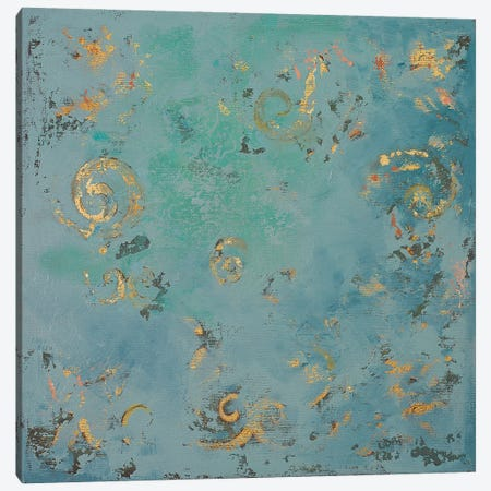 Gold Swirls on Blue Canvas Print #PPI812} by Patricia Pinto Art Print