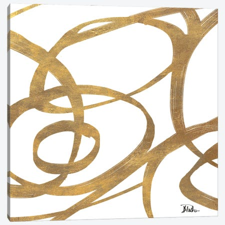 Golden Swirls Square I Canvas Print #PPI816} by Patricia Pinto Canvas Wall Art