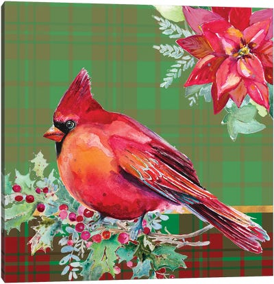 Holiday Poinsettia and Cardinal on Plaid I Canvas Art Print