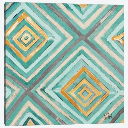 Coastal Ikat with Gold I Canvas Print #PPI88} by Patricia Pinto Canvas Art Print