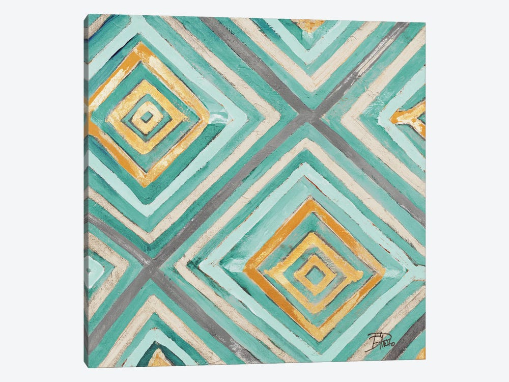 Coastal Ikat with Gold I by Patricia Pinto 1-piece Canvas Artwork