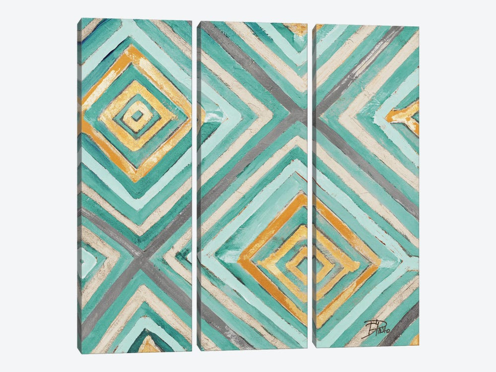 Coastal Ikat with Gold I by Patricia Pinto 3-piece Canvas Art