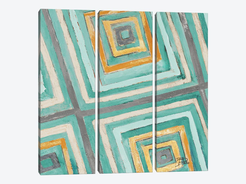 Coastal Ikat with Gold II by Patricia Pinto 3-piece Canvas Art Print