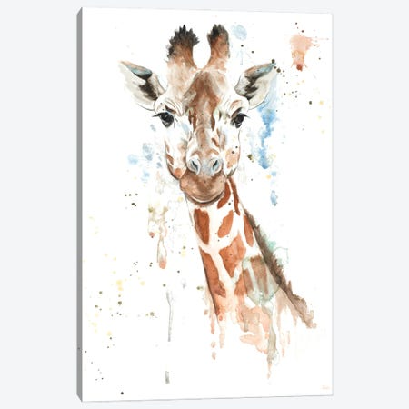 Water Giraffe Canvas Print #PPI925} by Patricia Pinto Canvas Wall Art
