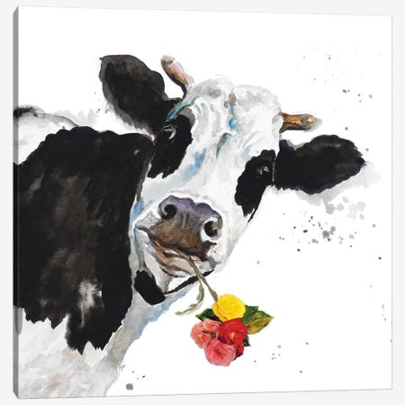 Crazy Cow Canvas Print #PPI99} by Patricia Pinto Canvas Art