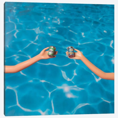 Beer At The Pool Canvas Print #PPM8} by Pepino de Mar Canvas Art Print