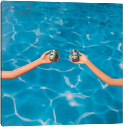 Beer At The Pool Canvas Art Print